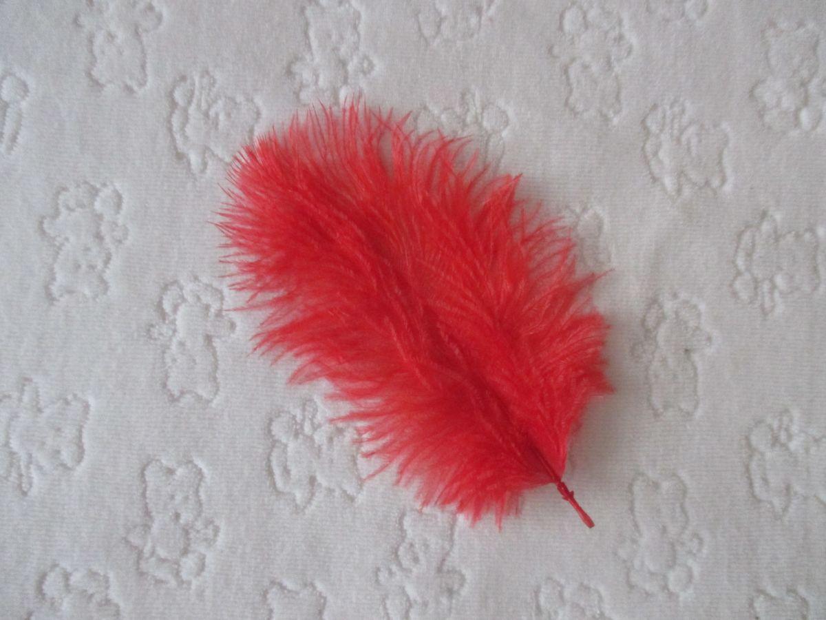 Pštrosí peří červené 5 - 12 cm