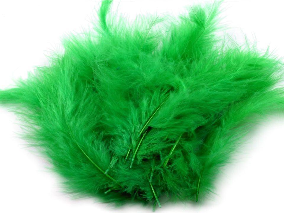 Peří marabu tmavě zelené 12 - 17 cm