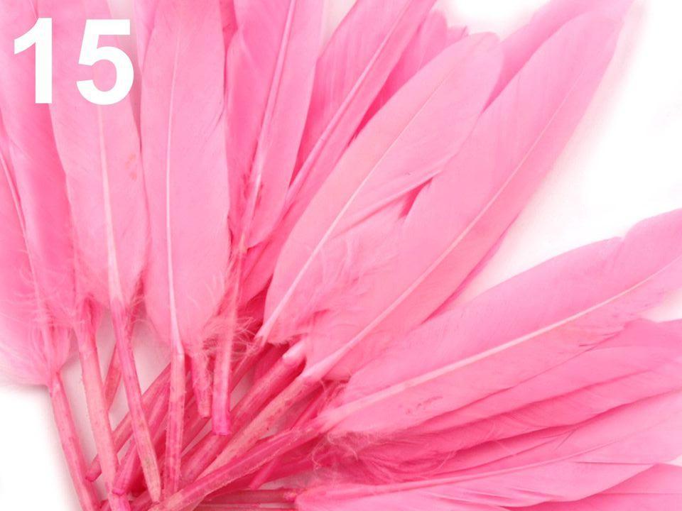 Kachní peří růžové 9-14 cm
