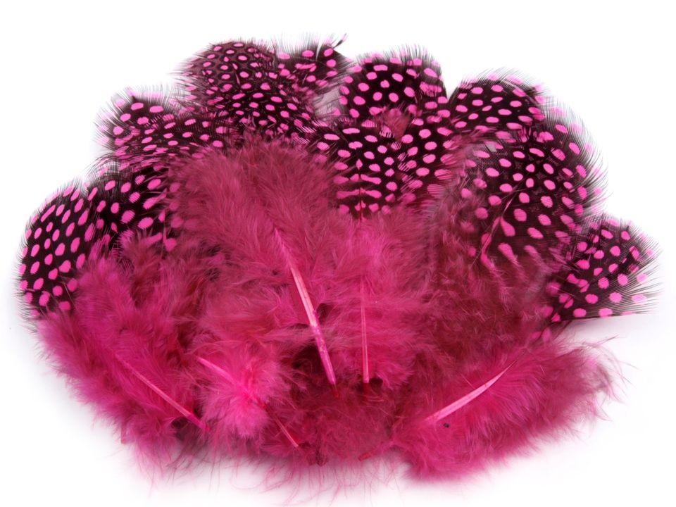 Ozdobné slepičí peří růžové 5-13 cm