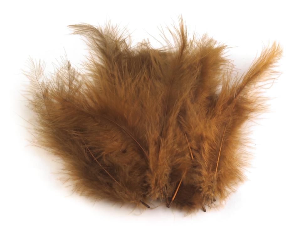 Peří marabu béžová tm. 12 - 17 cm