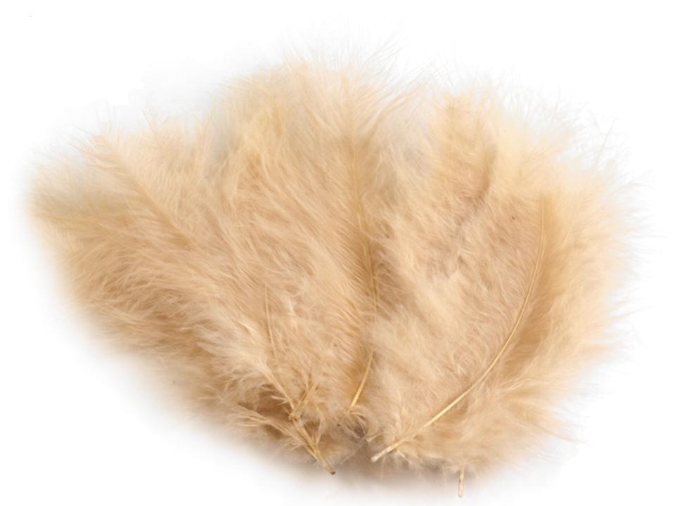 Peří marabu béžová sv. 12 - 17 cm