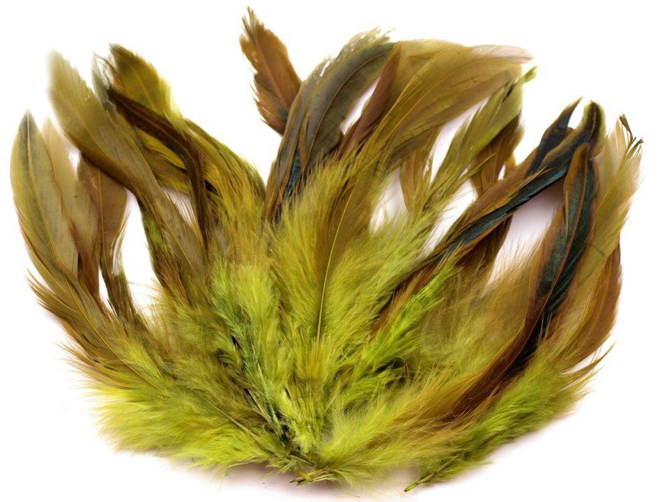 Slepičí peří zelená travní 6 -15 cm