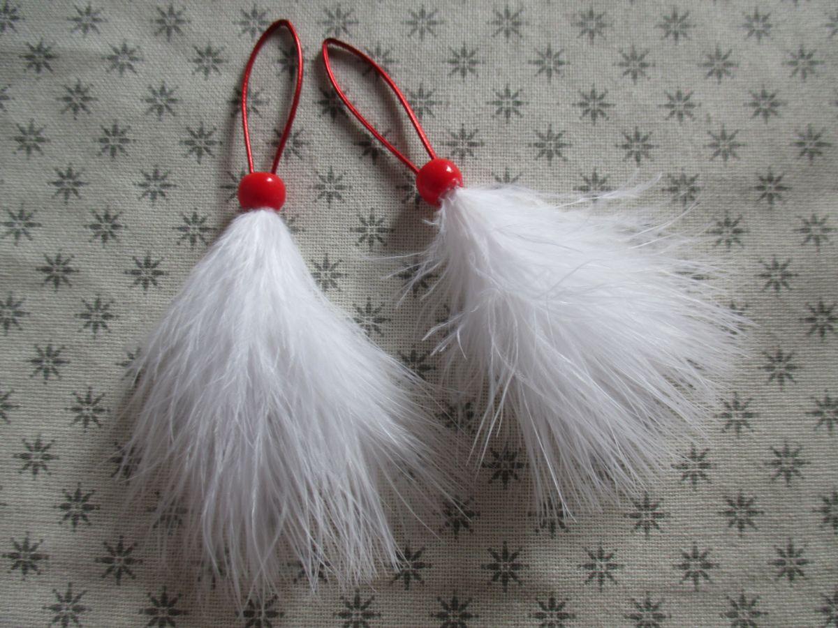 Péřové vánoční ozdoby bílé