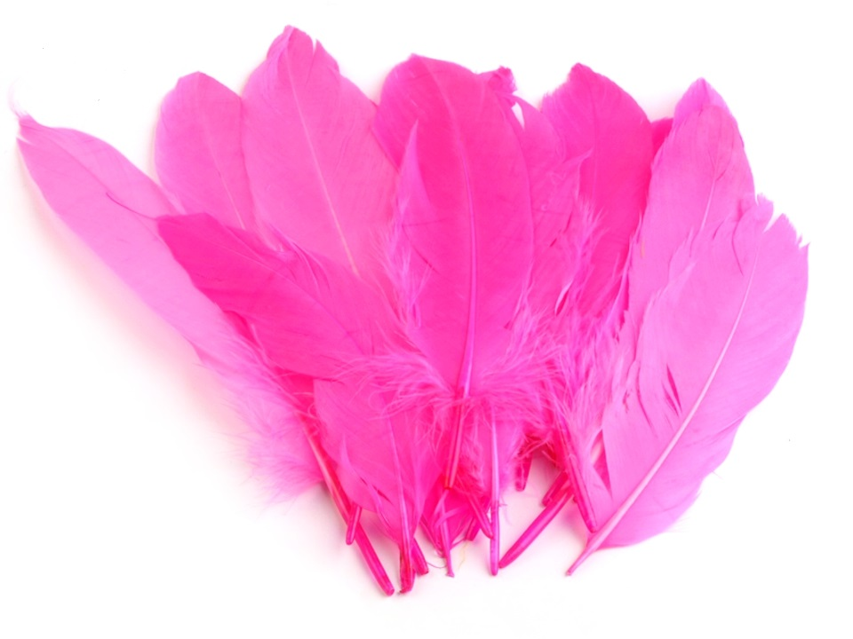 Husí peří růžové neonové 16 - 21 cm