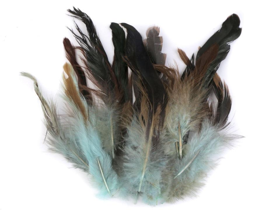Slepičí peří pistáciové 6 - 15 cm
