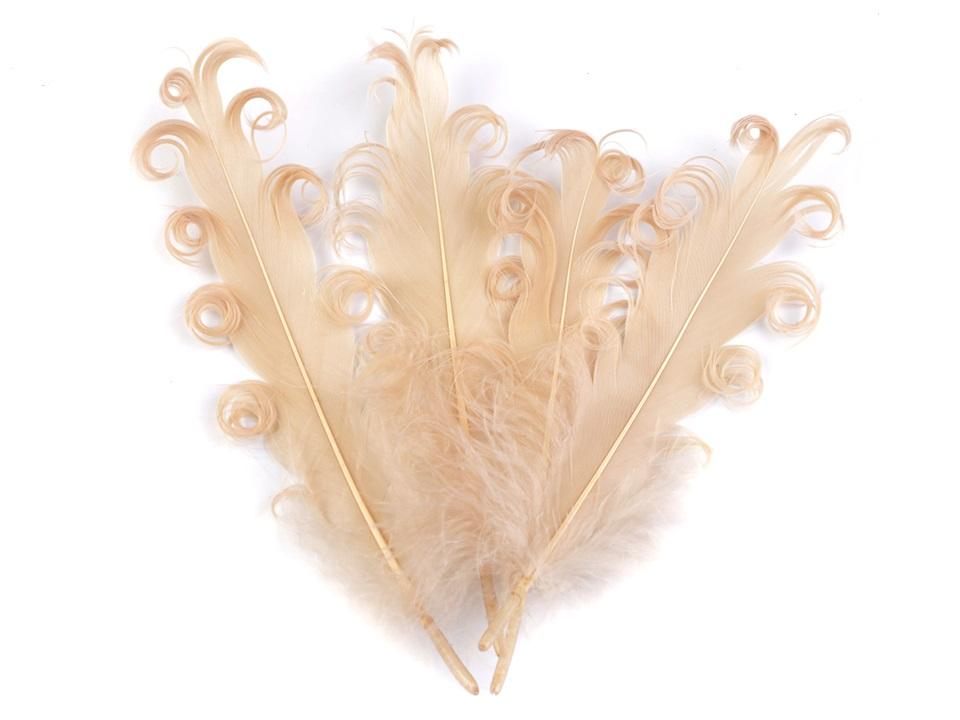 Husí peří kudrnaté krémové 13 - 18 cm
