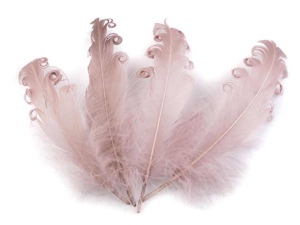 Husí peří kudrnaté starorůžové 13 - 18 cm