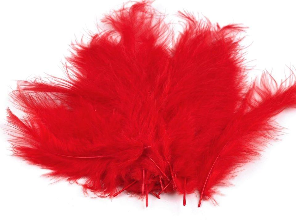 Peří marabu červené 12 - 17 cm