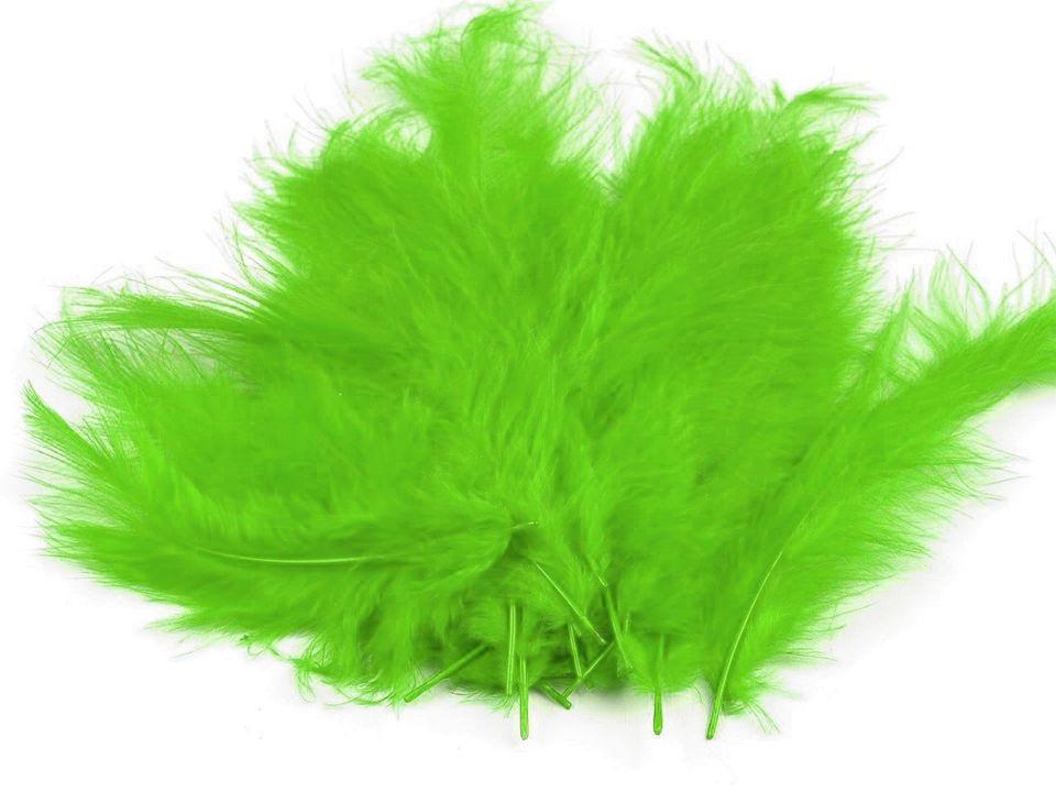 Peří marabu světle zelené 12 - 17 cm