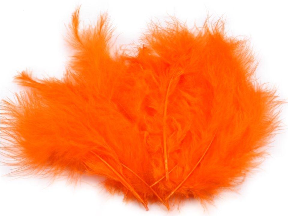 Peří marabu oranžové 12 - 17 cm