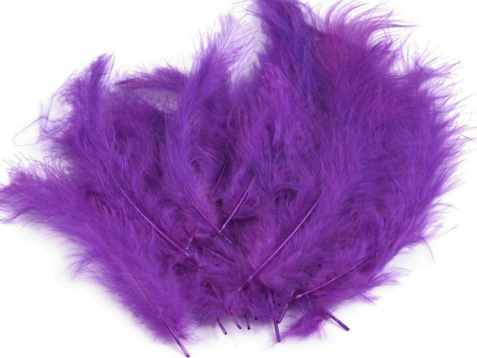 Peří marabu fialová purpurová 12 - 17 cm