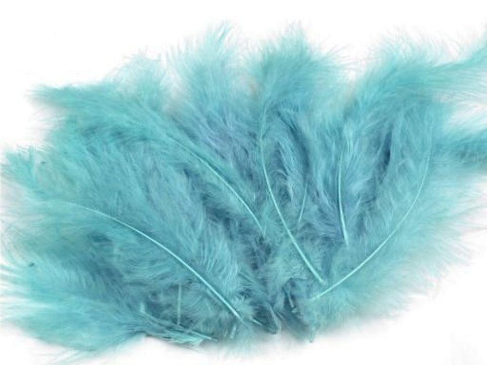 Peří marabu světle modrá 12 - 17 cm