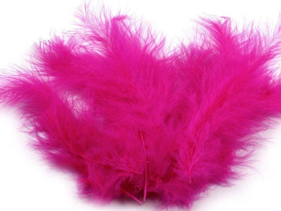 Peří marabu růžovofialové 12 - 17 cm