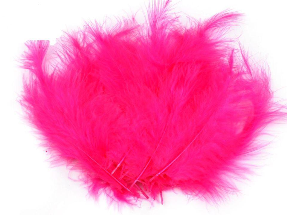 Peří marabu růžová neonová 12 - 17 cm