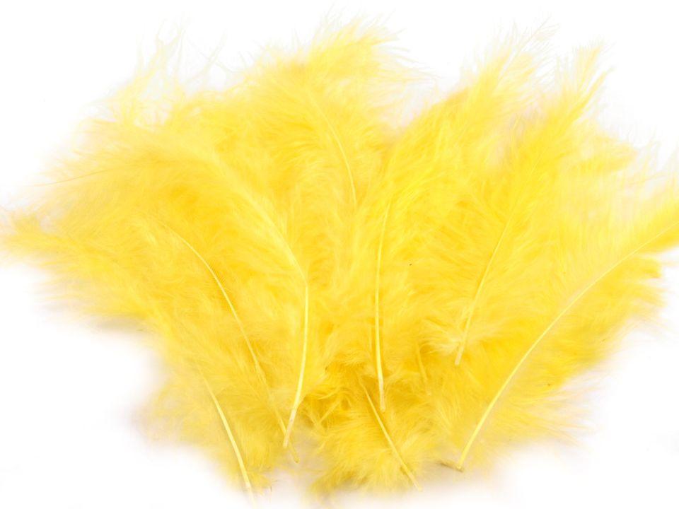 Peří marabu žluté 12 - 17 cm
