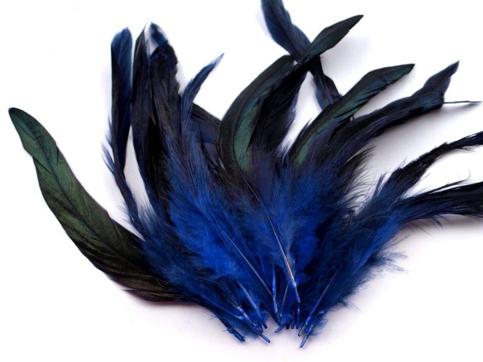 Slepičí peří tmavě modré 6 -15 cm
