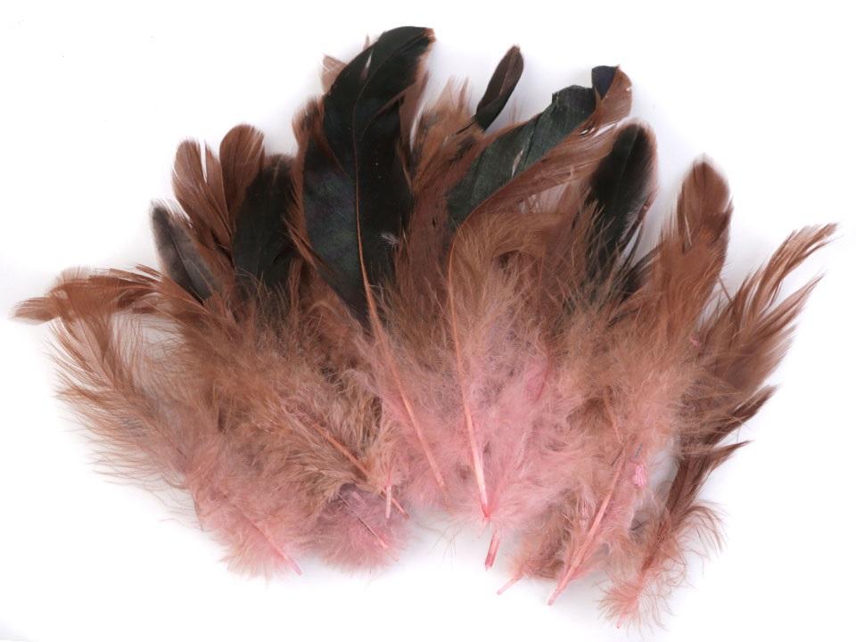 Slepičí peří světle růžové 6 - 15 cm