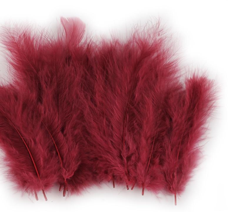 Peří marabu bordó 12 - 17 cm