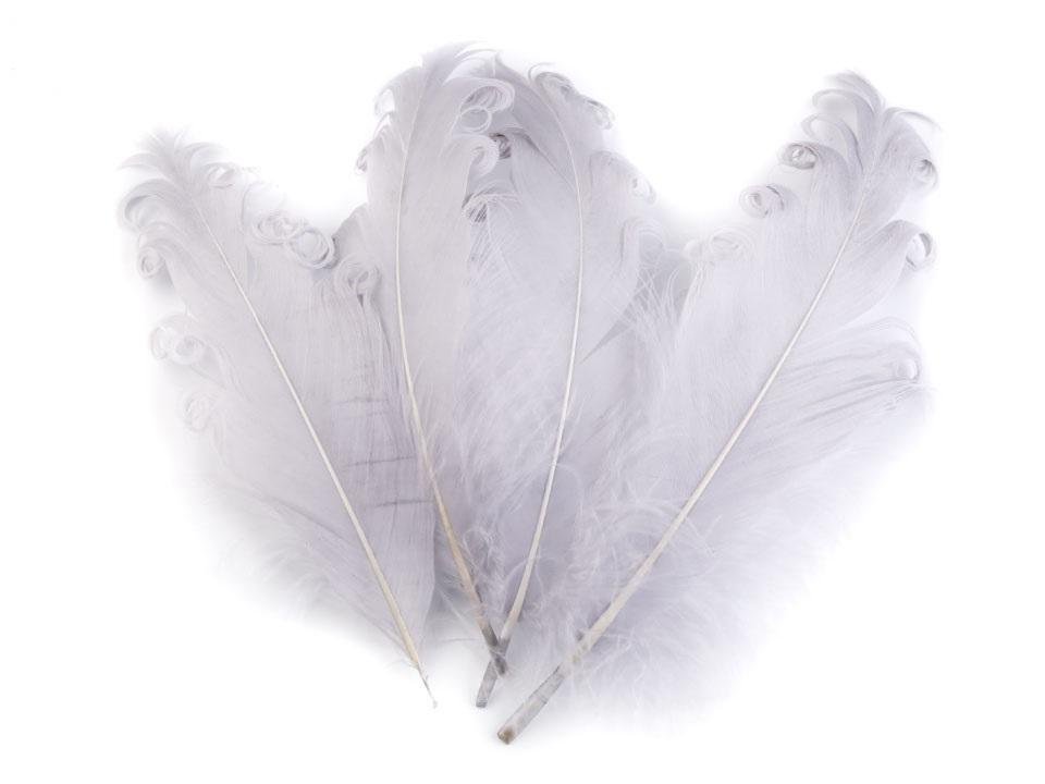 Husí peří kudrnaté světle šedé 13 - 18 cm