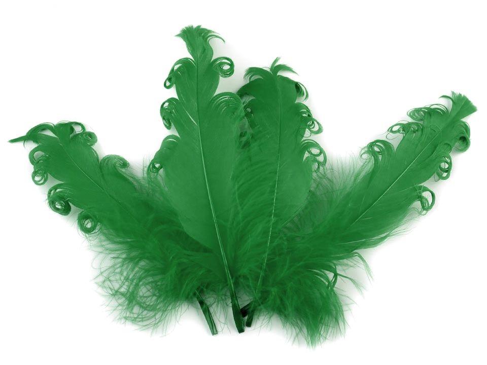Husí peří kudrnaté tmavě zelené 13 - 18 cm