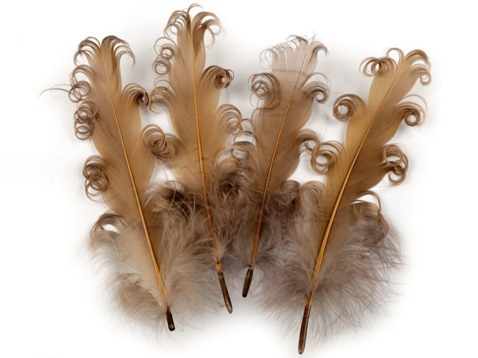 Husí peří kudrnaté tmavě béžové 13 - 18 cm