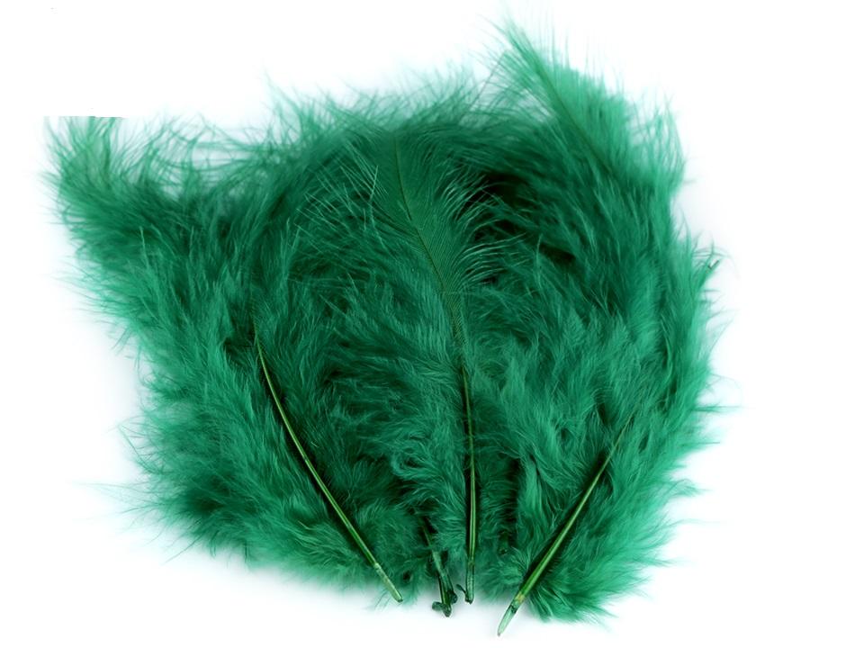 Peří marabu lahvově zelená 12 - 17 cm