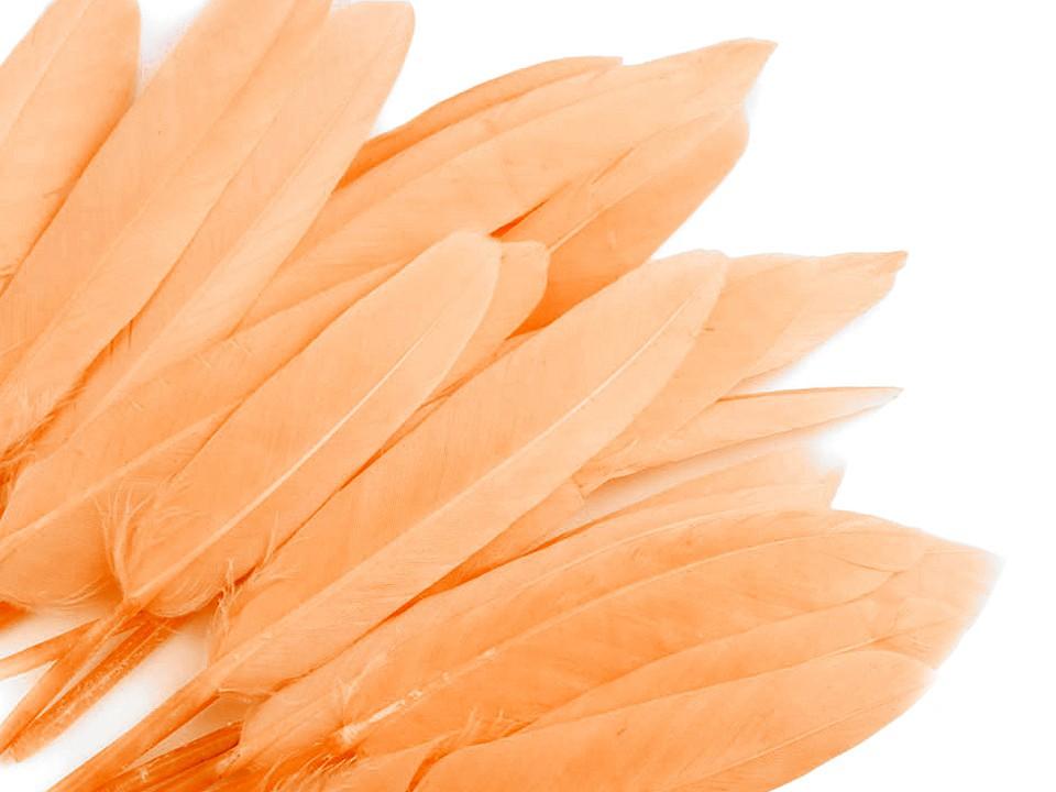 Kachní peří lososové světlé 9 - 14 cm
