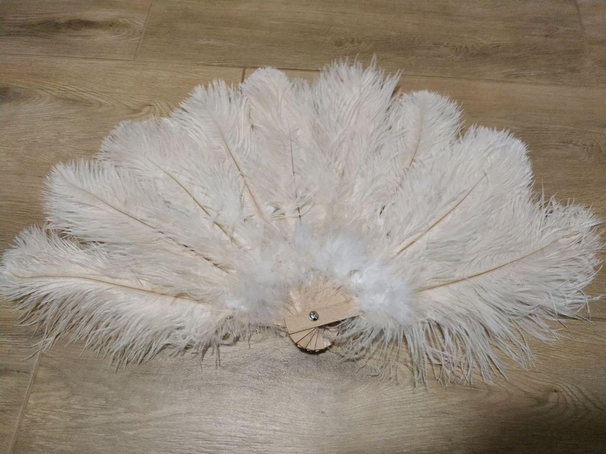 Vějíř pštrosí velký smetanovo bílý