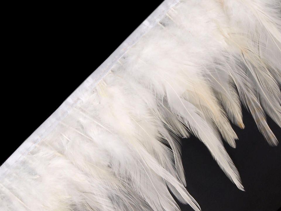 Prýmek - kohoutí peří bílé šíře 12 cm