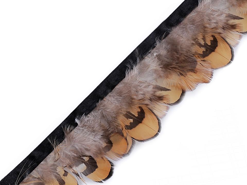 Prýmek bažantí peří šíře 55 mm přírodní stř.