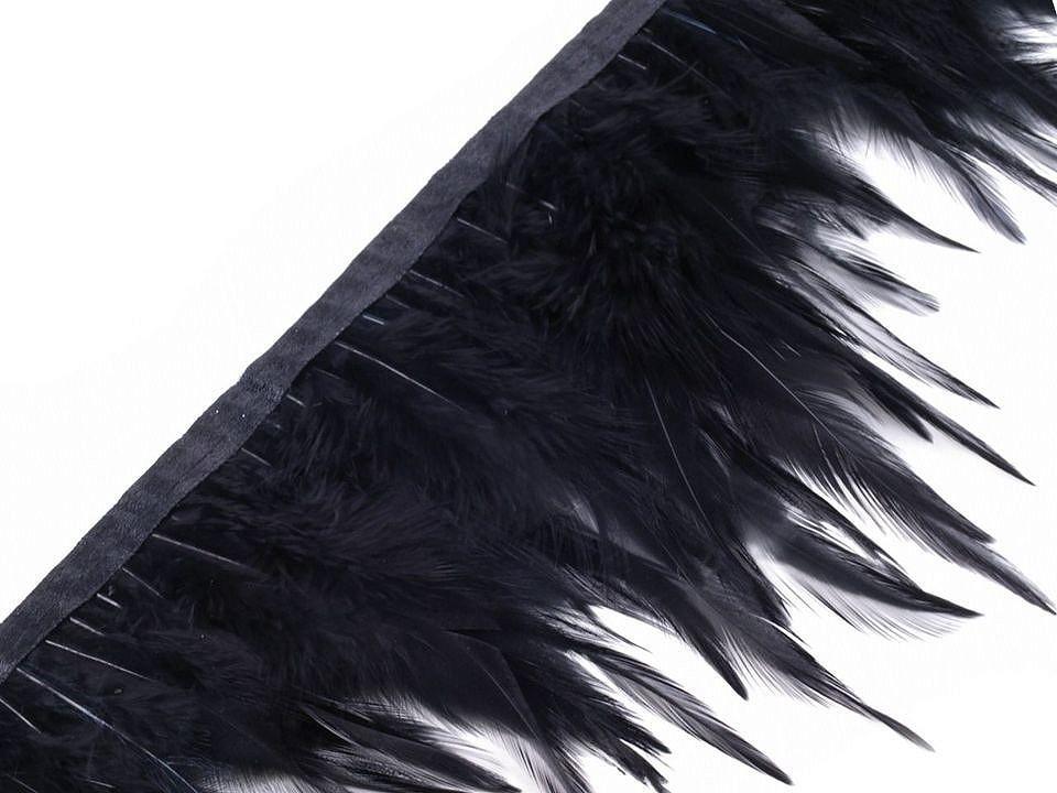 Prýmek - kohoutí peří černé šíře 12 cm