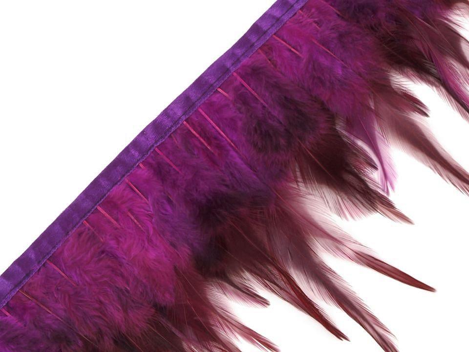 Prýmek - kohoutí peří fialové šíře 12 cm
