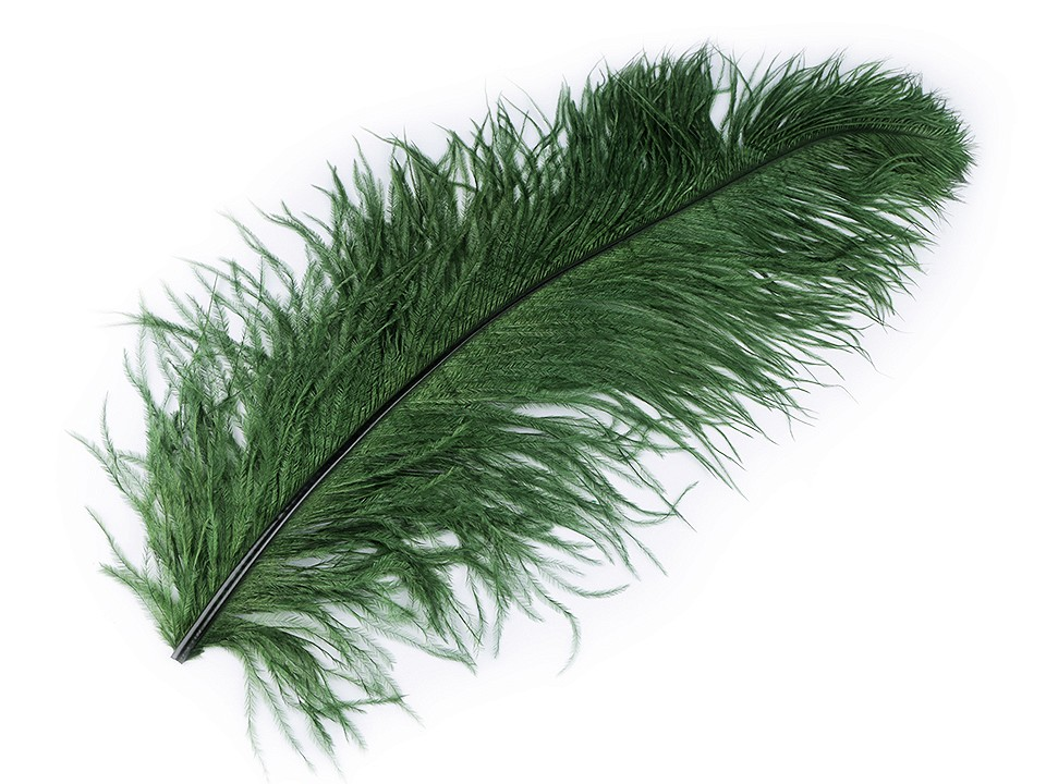 Pštrosí peří lahvově zelené 55 - 60 cm